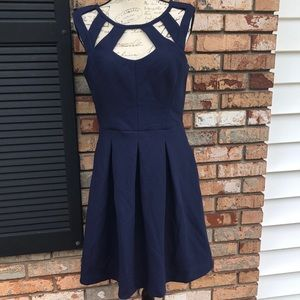 Betsey Johnson navy fit & flare dress EUC